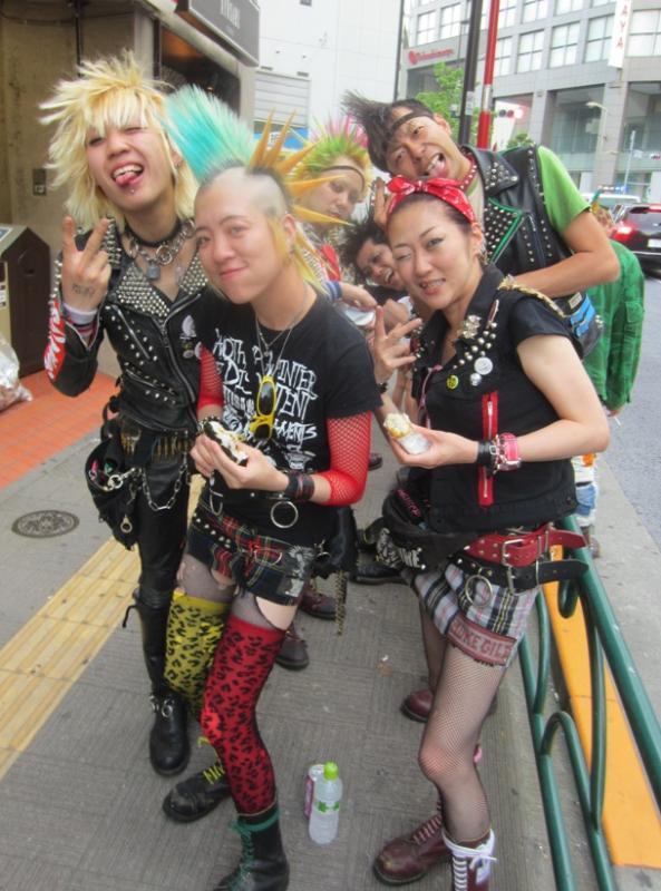 Tokyo punks outside a gig at Zone-B, Waseda, 2011