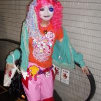 Shironuri girl leaving Shinjuku station, Tokyo, 2002