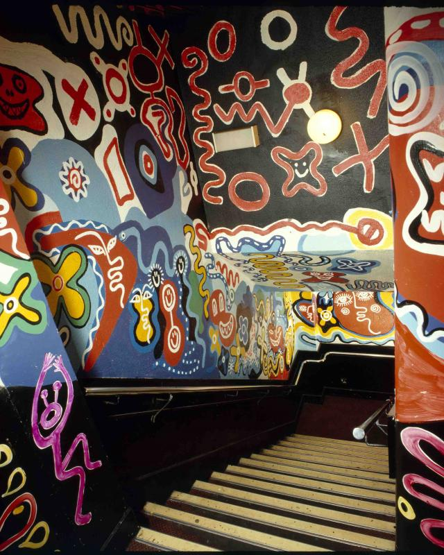 Mark Wigan's wall art for The Brain Club, 1989