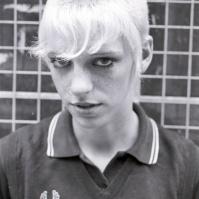 Skinhead girl, King's Rd, London, 80s ST#413