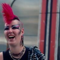 Punk Girl with red Mohican, King's Road, London, early 80s