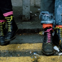 Punks with customized Doc Martens Boots, King's Rd ST#08