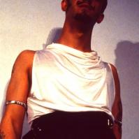 Christos Tolera modelling at St Martin's student fashion show, 1981 FA#29
