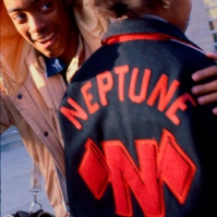 students outside Neptune High School, Neptune, New Jersey, United States, early 80s with 'Letter' jacket [photo © Ted Polhemus]