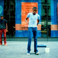 B-boys in downtown Manhattan, New York, United States, 1980 or 1981. [photo © Ted Polhemus]