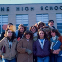students outside Neptune High School, Neptune, New Jersey, United States, early 80s [photo © Ted Polhemus]