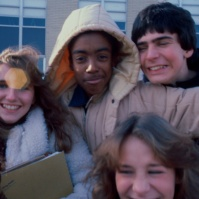 students outside Neptune High School, Neptune, New Jersey, United States, early 80 [photo © Ted Polhemus]
