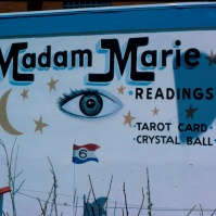 'Madam Marie' fortune teller's booth (made internationally famous by name check in Bruce Springsteen's song '4th of July'), Asbury Park, New Jersey, USA, this photo, early 1980s [photo © Ted Polhemus]