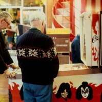 Two gentlemen playing the KISS pinball machine (by Bally Manufacturing Co.) in Palace Amusements', Asbury Park, New Jersey, USA, early 1980s [photo © Ted Polhemus]