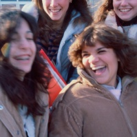 female students outside Neptune High School, Neptune, New Jersey, United States, early 80s [photo © Ted Polhemus]