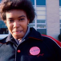Afro-American female student outside Neptune High School, Neptune, New Jersey, United States, early 80s [photo © Ted Polhemus]