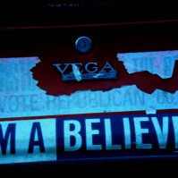 'I'M A BELIEVER!' and 'VOTE REPUBLICAN' bumper stickers, Providence, Rhode Island, USA, early 1980s [photo © Ted Polhemus]